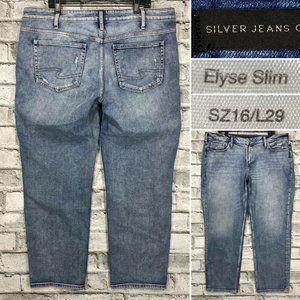 Silver Elyse Slim Sz 16 x 29 Stretch Denim Jeans